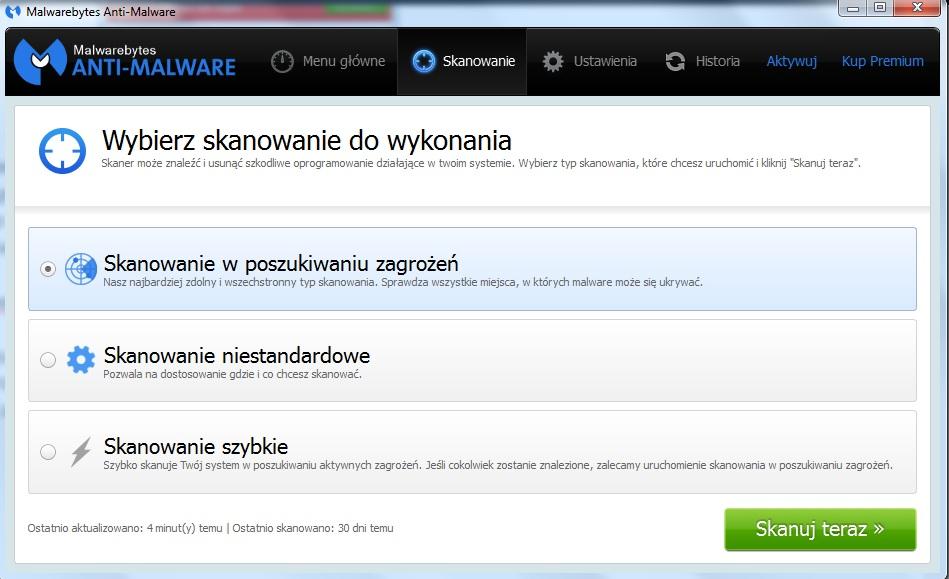 Usuwanie złośliwych programów, za pomocą Malwarebytes Anti-Malware