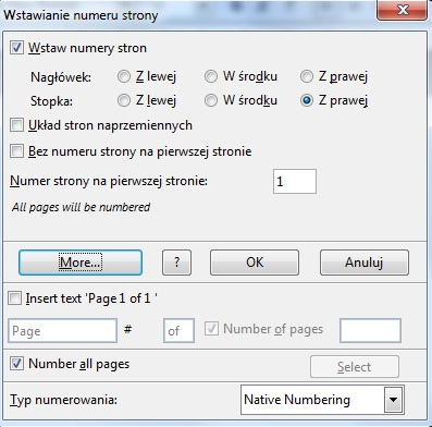 numeracja stron open office