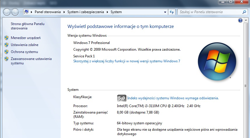 typ systemu windows