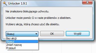 Nie można usunąć pliku, plik jest używany. Program, który usunie pliki z odmową dostępu.